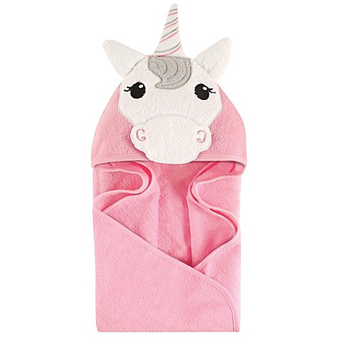 Hudson Baby 174 Unicorn Hooded Towel In Pink White Buybuy Baby