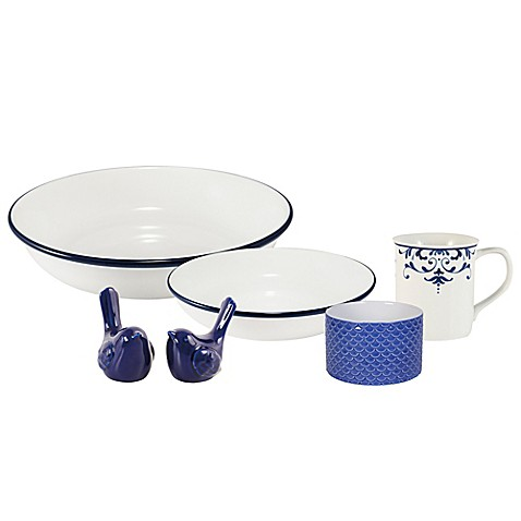 Everyday White® by Fitz and Floyd® Bistro Blue Rim Accessory Collection at Bed Bath & Beyond in Cypress, TX | Tuggl