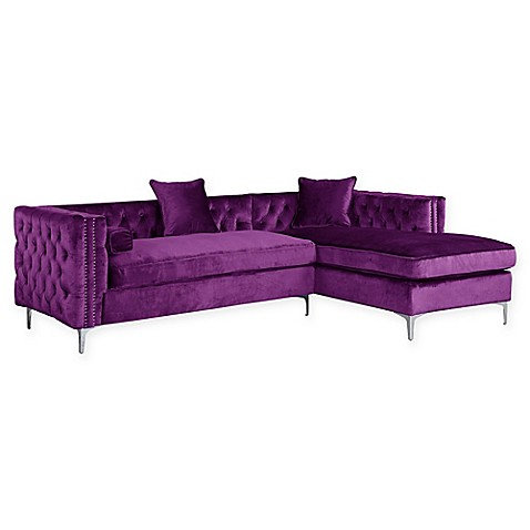 Buy Chic Home Picasso Right Facing Velvet Sectional Sofa