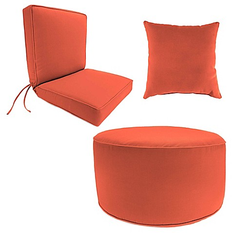 Outdoor Seat Cushion, Ottoman, and Throw Pillow Collection in Sunbrella® Canvas Melon at Bed Bath & Beyond in Cypress, TX | Tuggl