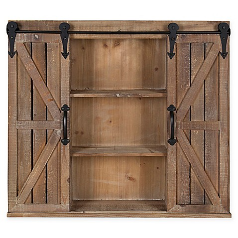 Cates Storage Cabinet With Barn Doors In Brown Bed Bath