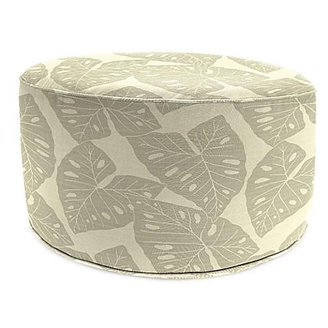 Outdoor round pouf ottoman in sunbrella radiant silver for Ulani outdoor round pouf ottoman