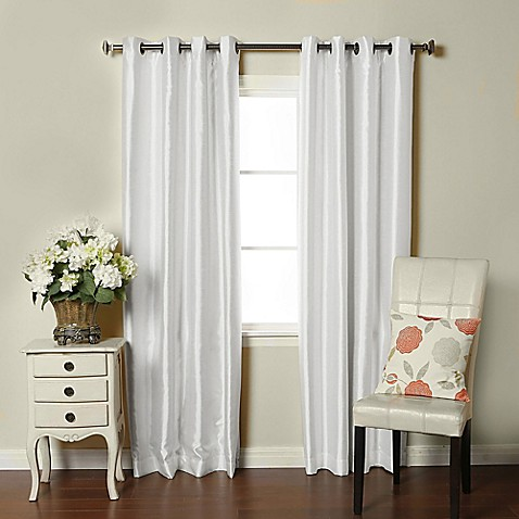 Buy Brielle Fortune 84 Inch Grommet Top Room Darkening Window Curtain Panel In Silk White From