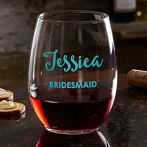 Bridal Party Colored Vinyl Stemless Wine Glass at Bed Bath & Beyond in Cypress, TX | Tuggl
