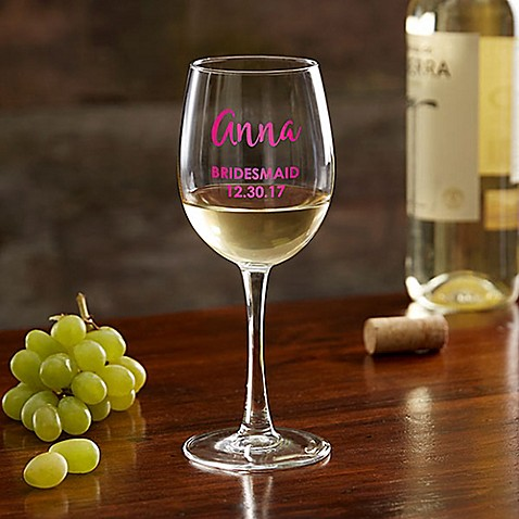 Bridal Party Colored Vinyl White Wine Glass at Bed Bath & Beyond in Cypress, TX | Tuggl