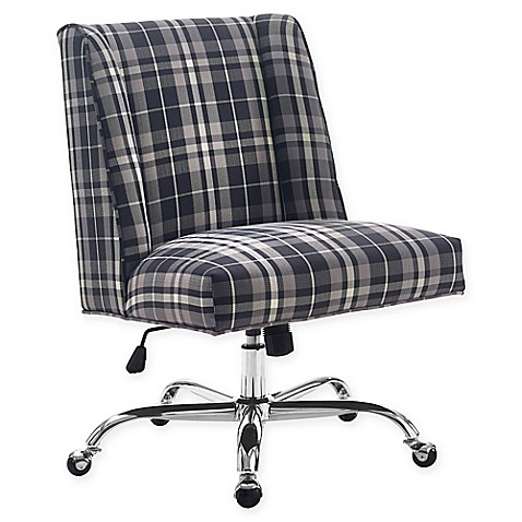 buy linon home draper plaid office chair in blue from bed bath beyond. Black Bedroom Furniture Sets. Home Design Ideas
