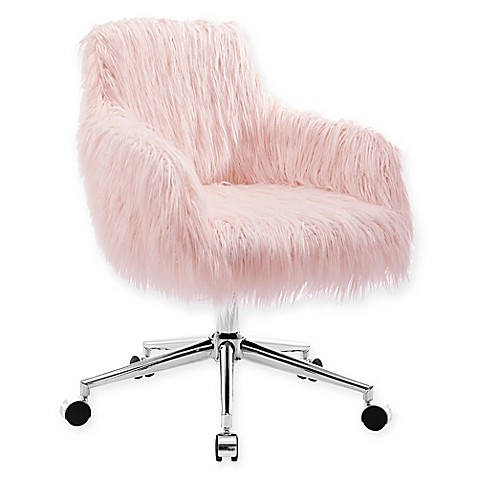Linon home fiona faux fur office chair in blush bed bath for Kids fluffy chair