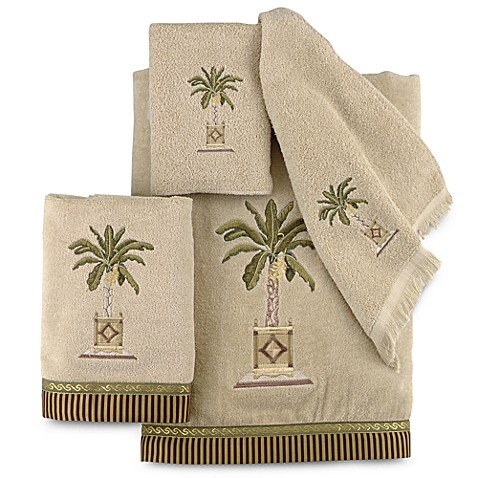 Avanti Banana Palm Bath Towel Collection In Linen Bed