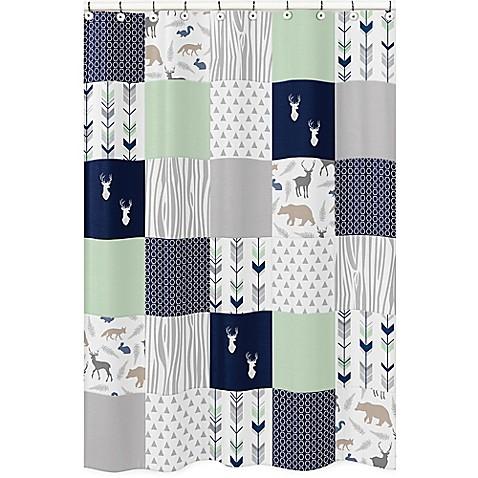 Sweet jojo designs woodsy shower curtain in navy mint for Sweet jojo designs bathroom