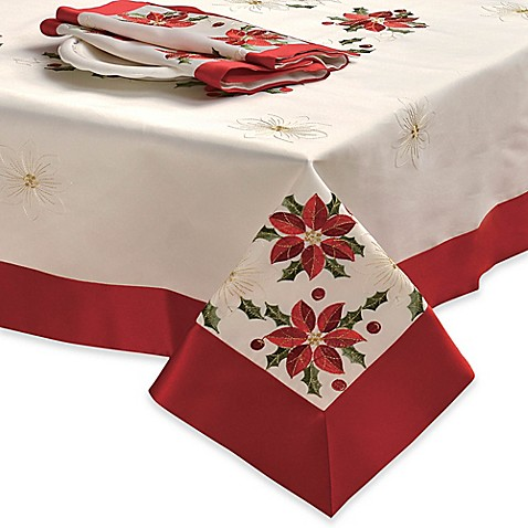 Creative Home Ideas Poinsettia Embroidered 70 Inch X 120