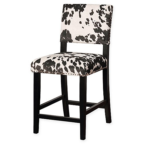 Buy Linon Home Clayton Cow Print Counter Stool In Black