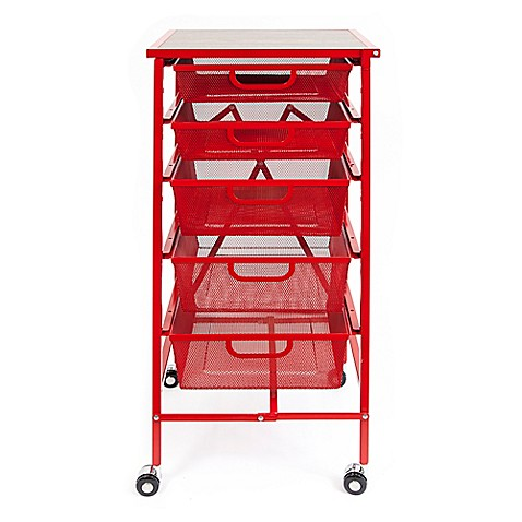 Buy Origami 5 Drawer Foldable Wheeled Kitchen Cart In Red From Bed Bath Beyond