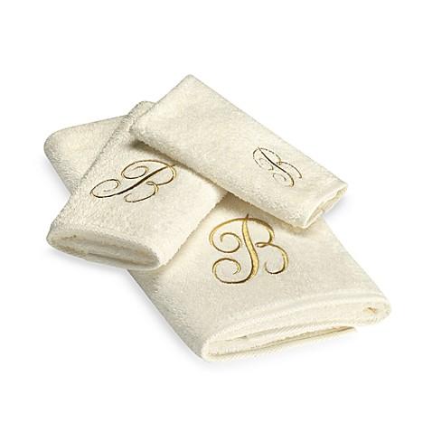 Avanti Premier Gold Script Monogram Bath Towel In Ivory Bed Bath Beyond