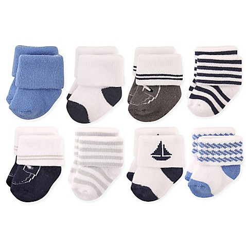 Hudson Baby 174 8 Pack Nautical Terry Rolled Cuff Socks In