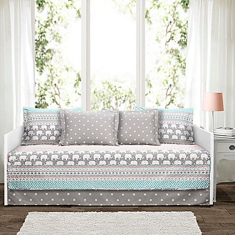 Lush D 233 Cor Elephant Stripe Daybed Set In Turquoise Bed
