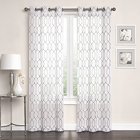 Newbury Embroidered Sheer Grommet Top Window Curtain Panel