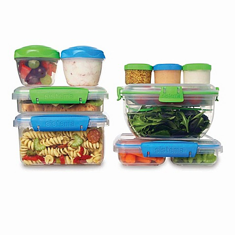 Sistema 18 piece klip it accents food storage containers for Decor 6 piece lunchbox