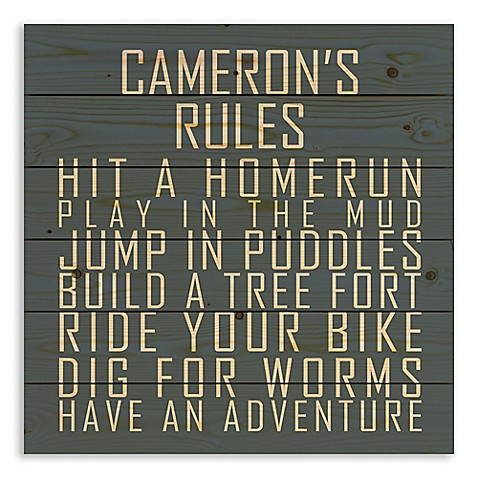 Designs Direct Boys' Rules Pallet Wooden Wall Art in Blue at Bed Bath & Beyond in Cypress, TX | Tuggl