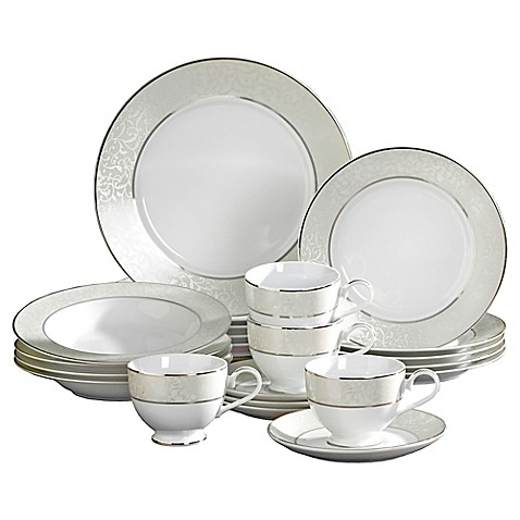 Mikasa parchment 20 piece fine china dinnerware set bed for Mikasa china