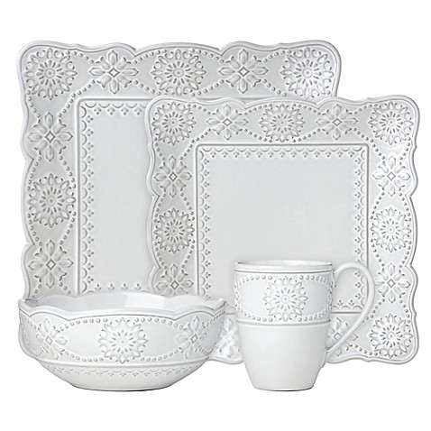 Lenox® French Carved™ Square Dinnerware Collection in White at Bed Bath & Beyond in Cypress, TX | Tuggl