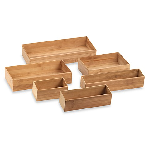 Bamboo drawer organizer bed bath beyond for Kitchen drawer organizer
