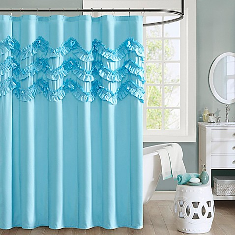 Intelligent design aurora ruffle shower curtain bed bath - Intelligent shower ...