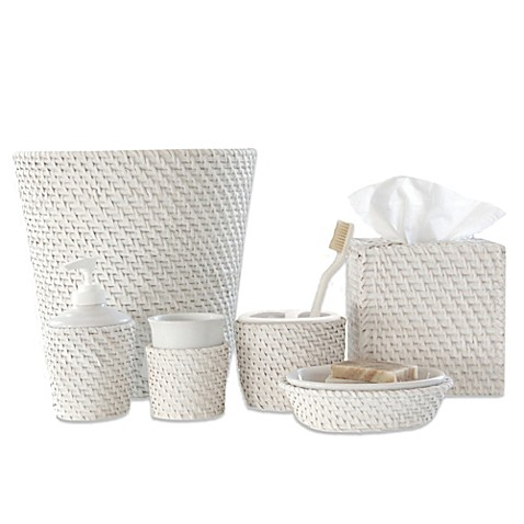 caribbean white rattan bath ensemble bed bath beyond On white wicker bathroom accessories