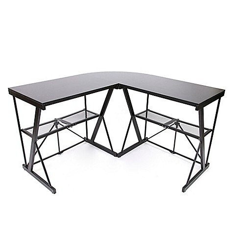 Origami Corner Computer Desk in Black at Bed Bath & Beyond in Cypress, TX | Tuggl