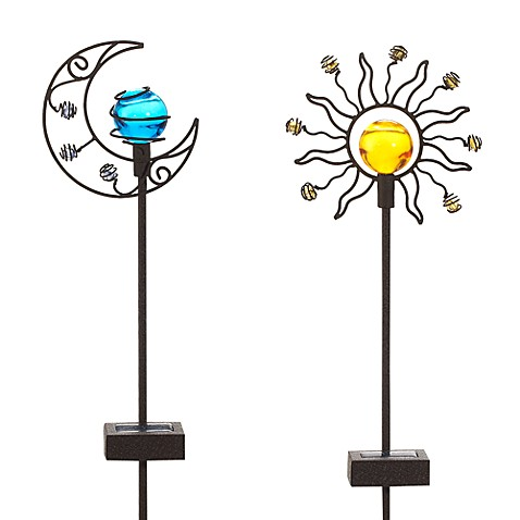 buy solar sun moon garden stake set from bed bath beyond
