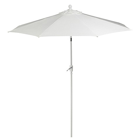 foot round aluminum patio umbrella in white from bed bath beyond