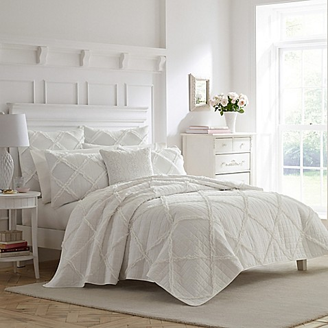 Laura Ashley® Maisy Twin Quilt Set in White at Bed Bath & Beyond in Cypress, TX | Tuggl