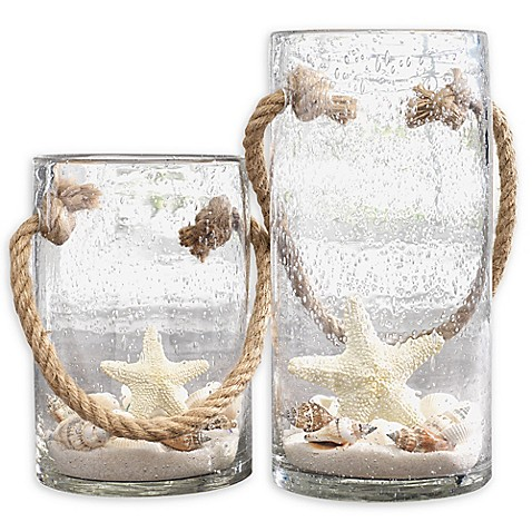 Home Essentials & Beyond Starfish Rope Glass Hurricane Candle Holders (Set of 2) | Tuggl