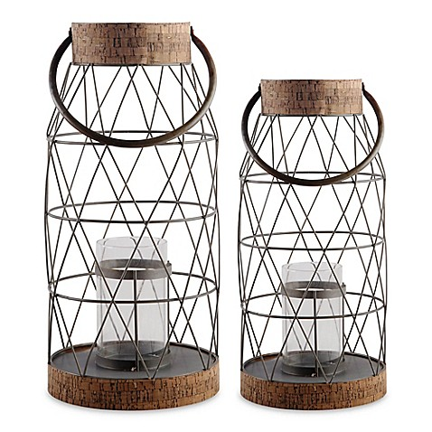 Home Essentials & Beyond Rustic Metal and Cork Hurricane Candle Holder | Tuggl