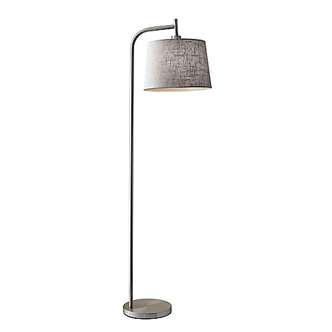 Adesso® Blake Floor Lamp in Brushed Steel with Grey Fabric Shade | Tuggl
