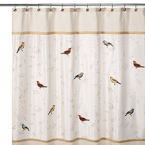 Avanti Gilded Birds 70 Inch X 72 Inch Shower Curtain Bed