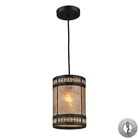 ELK Lighting Mica Filigree 1-Light Pendant in Bronze | Tuggl
