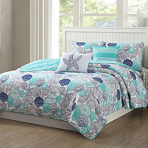 Quaint Home Kai Reversible Quilt Set in Aqua at Bed Bath & Beyond in Cypress, TX | Tuggl