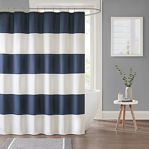 Parker Stripe Shower Curtain in Navy at Bed Bath & Beyond in Cypress, TX | Tuggl