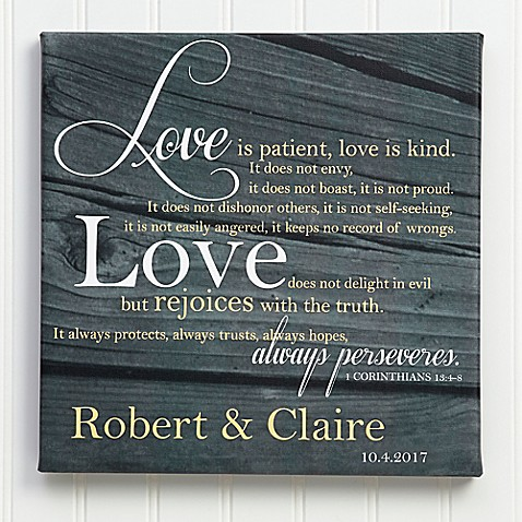 """""""Love Is Patient"""" Canvas Wall Art at Bed Bath & Beyond in Cypress, TX 