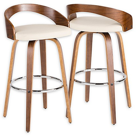 Lumisource™ Faux Leather Upholstered Bar Stool in Brown/Cream at Bed Bath & Beyond in Cypress, TX   Tuggl