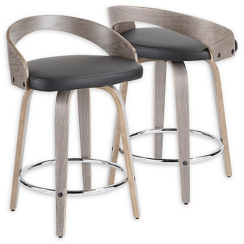 Lumisource™ Faux Leather Upholstered Bar Stool in Light Grey/black | Tuggl