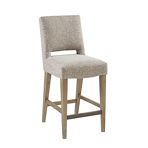 Madison Park™ Microfiber Upholstered Bar Stool in Cream | Tuggl