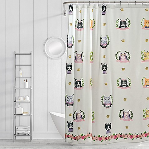 Simply Whimsical Pretty Kitty Shower Curtain in Blue/Orange at Bed Bath & Beyond in Cypress, TX | Tuggl