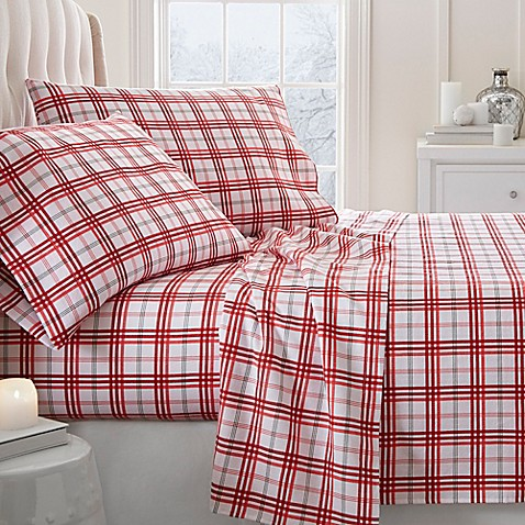 Buy Christmas Plaid Deep Pocket Queen Flannel Sheet Set In