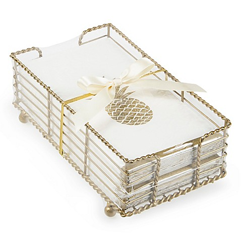 Pineapple Paper Guest Towels With Caddy In Gold (Set Of 32) by Bed Bath And Beyond