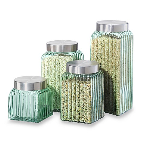 oggi ribbed glass 4 piece canister set in green bed oggi 7 pc round airtight canister set canisters amp food