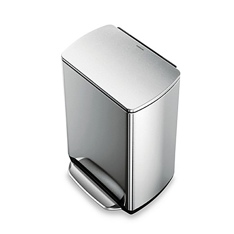 simplehuman brushed stainless steel fingerprint proof rectangular 50 liter wide step trash can. Black Bedroom Furniture Sets. Home Design Ideas
