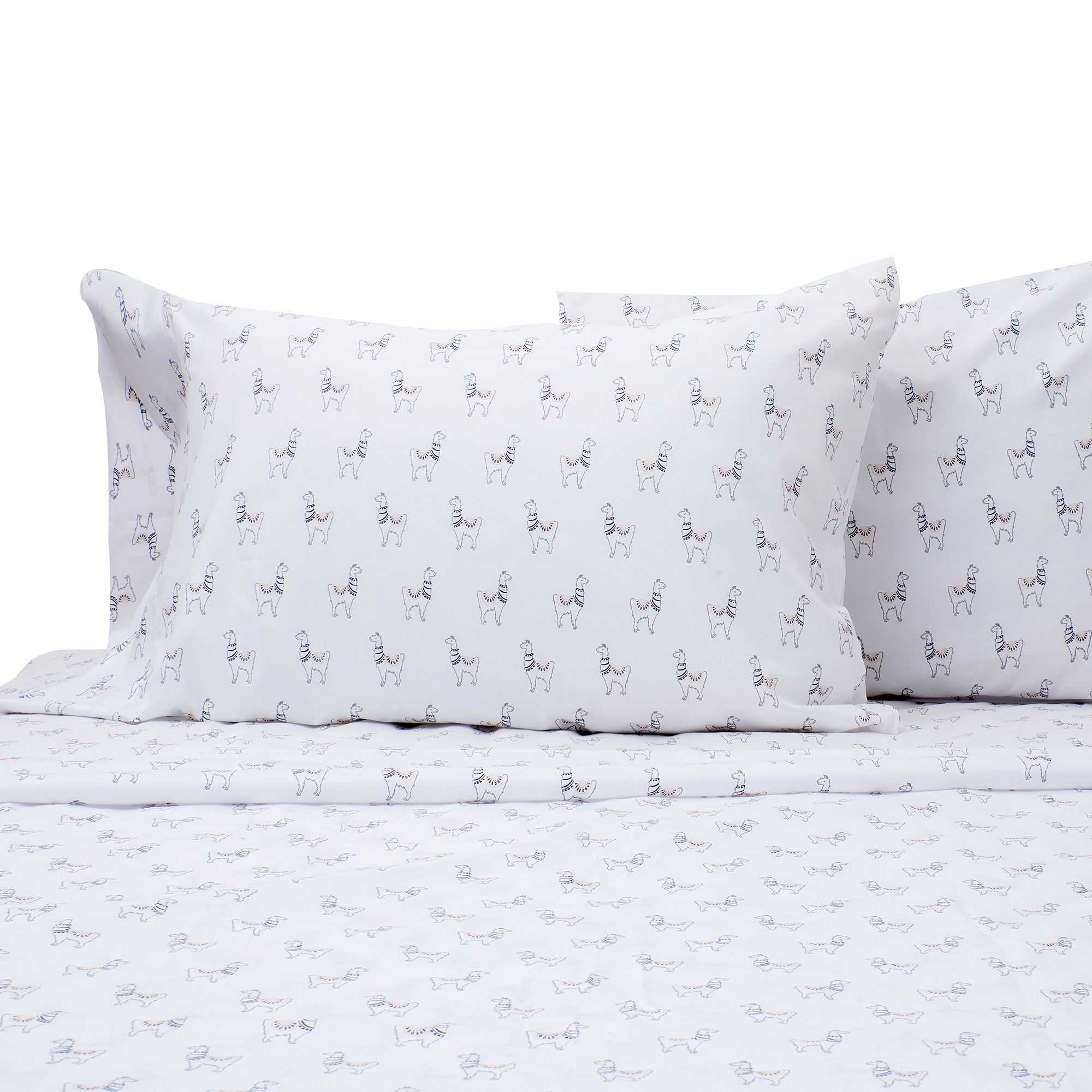 Benzoyl Peroxide Resistant Llama Twin Xl Sheet Set In White by Bed Bath And Beyond