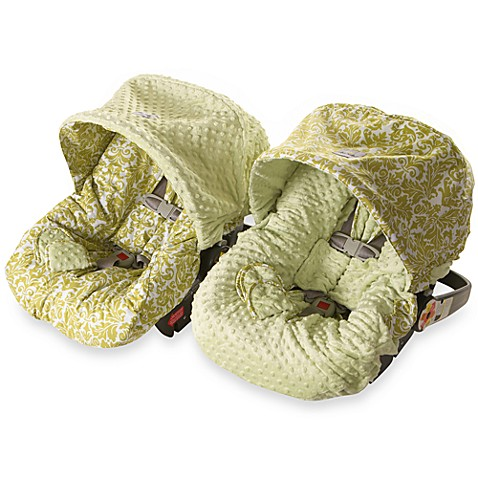 baby ritzy rider infant car seat cover in avocado damask sage minky dot bed bath beyond. Black Bedroom Furniture Sets. Home Design Ideas