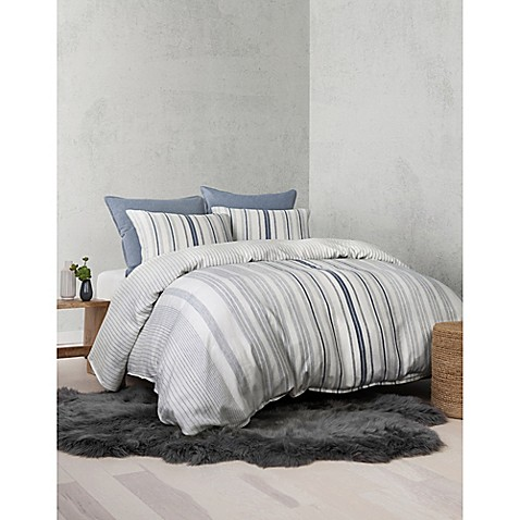 Ugg® Nomad Tencel® Lyocell Striped Reversible Queen Duvet Cover In Denim by Bed Bath And Beyond
